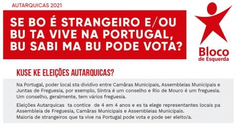 Bloco Sintra distribui panfleto em crioulo para sensibilziar migrantes para direito de voto nas autárquicas.