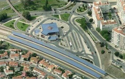 Vista aérea da estação de Monte Abraão