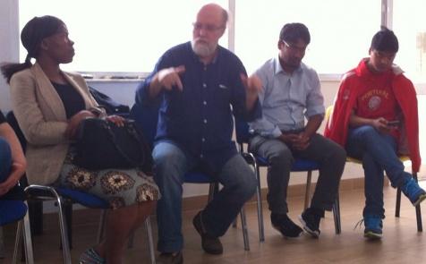 Timóteo Macedo, da Soidariendade Imigrante, intervindo no debate